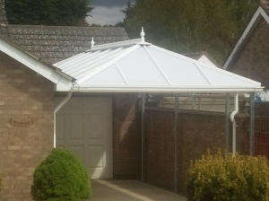 Carport roof made by Rivera Conservatory Roofs Ltd Boston Trade supplier polycarbonate glass upvc builder manufacturer