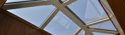 Close up of Eurocell Skypod roof lantern skylight East Anglia trade supplier Riviera Conservatory Roofs Ltd Cambridgeshire